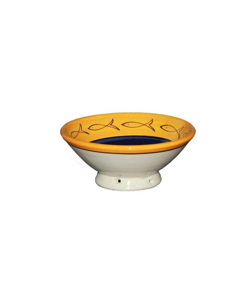 Marokkaans schaaltje geel-blauw-bruin vis 15 cm