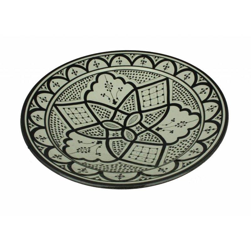 Marokkaanse schaal  wit-zwart 35 cm