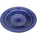 Marokkaanse schaal blauw gegraveerd 40 cm