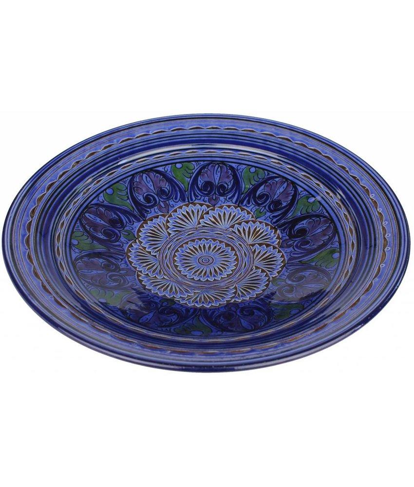 Marokkaanse schaal gegraveerd blauw 40 cm