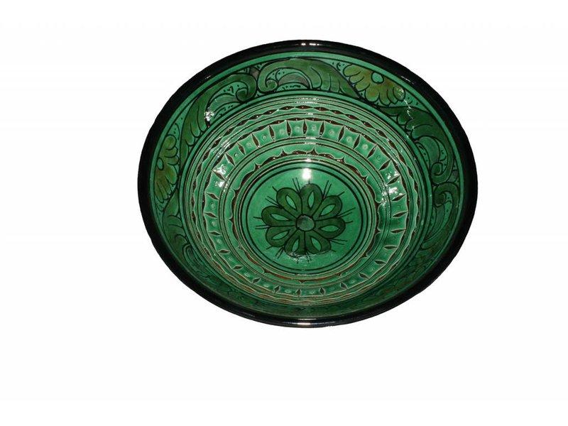 Marokkaanse kom groen gegraveerd 22 cm