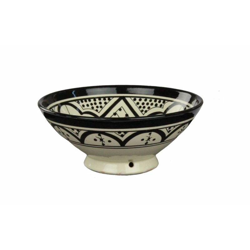 Marokkaanse kom wit-zwart 22 cm