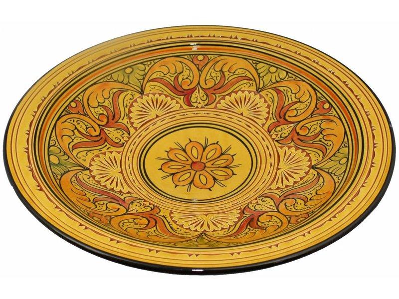 Marokkaanse schaal geel gegraveerd 40 cm