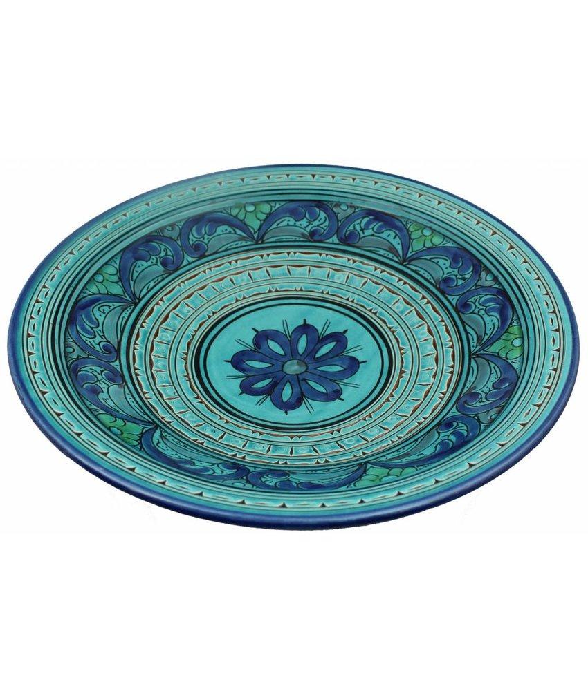 Marokkaanse schaal aqua gegraveerd 40 cm