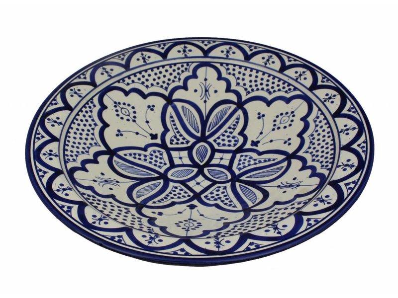 Marokkaanse schaal wit-blauw 35 cm
