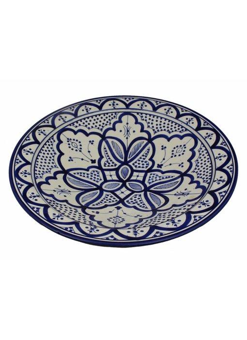 Marokkaanse schaal wit-blauw 40 cm
