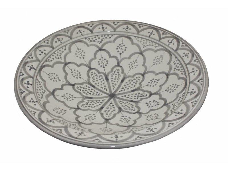 Marokkaanse schaal wit-grijs 35 cm