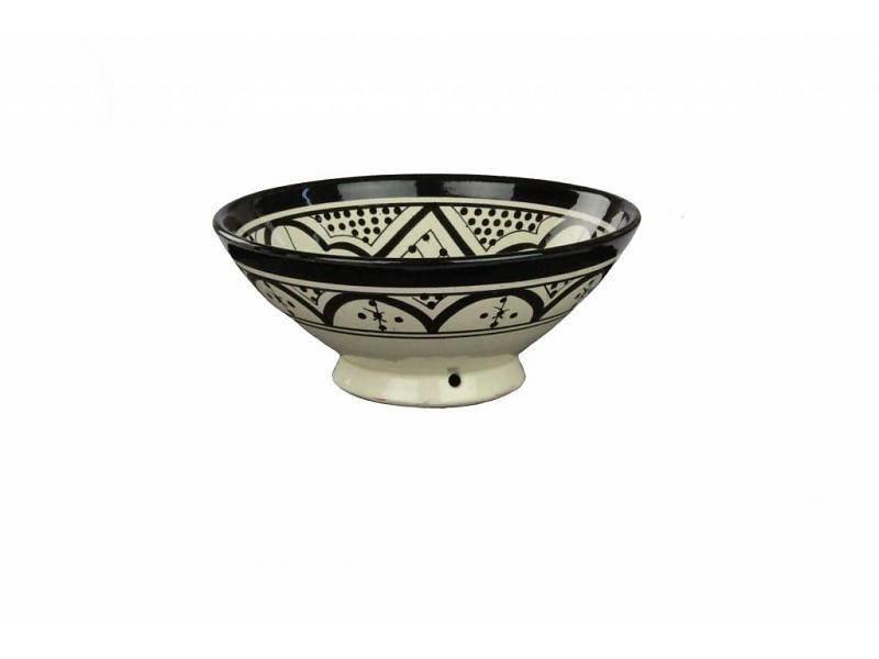 Marokkaans schaaltje wit-zwart 13 cm
