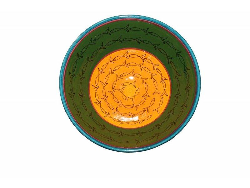Marokkaanse kom groen-geel vis 30 cm