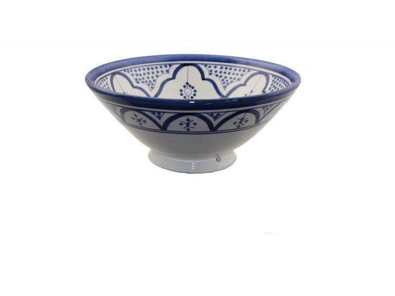Marokkaanse kom wit-blauw 22 cm