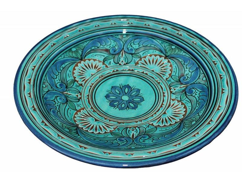 Marokkaanse schaal gegraveerd aqua 35 cm