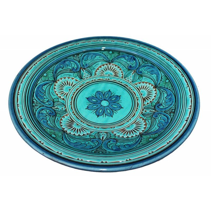 Marokkaanse schaal gegraveerd aqua 40 cm