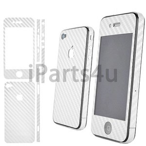 Carbon Skin iPhone 4S en 4 Wit