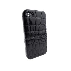 Krokodil Hardcover Snap Case iPhone 4 Croco Zwart