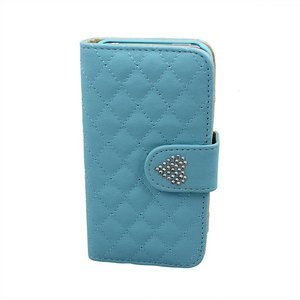 Lederen wallet bookcase boek hoesje iPhone 4/4S Strass Blauw