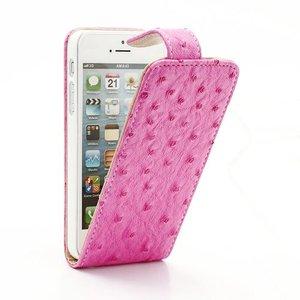 Lederen Flip Case iPhone 5/5S Klaphoesje Struisvogelmotief Roze
