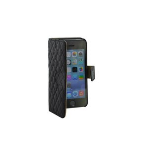 iPhone SE/5S/5 Leder bookcase hoesje Strass Zwart