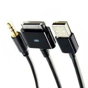 Y Kabel 3 in 1 Audio/Data/Aux Zwart