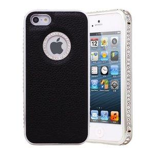 Leder iPhone 5/5S Logo Snap Case Hoesje Zwart Diamantjes Zilver