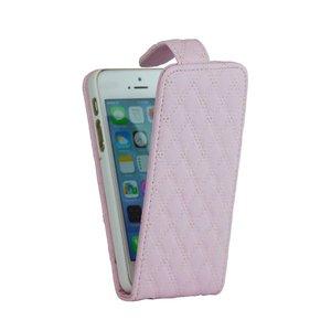 Lederen Flip Case iPhone 5/5S Klaphoesje ruitjesmotief Roze