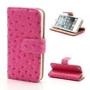 iPhone SE/5S/5 Bookcase Leder Struisvogel Roze