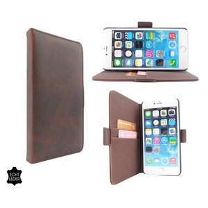 Luxe iPhone 6 Plus Hoesje Bookcase Leder Bruin
