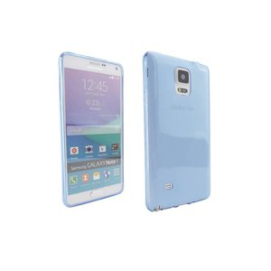 Ultra Dun Siliconen Gel Hoesje Samsung Note 4 Blauw Transparant