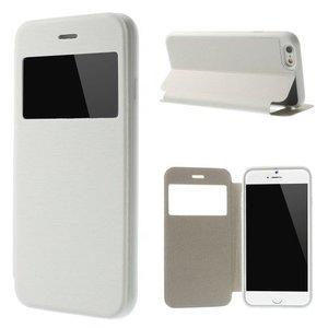 Leder Bookcase Boek Hoesje iPhone 6 Plus met Kijkvenster Wit
