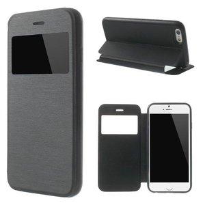 iPhone 6/6S Plus Leder Bookcase Kijkvenster Zwart
