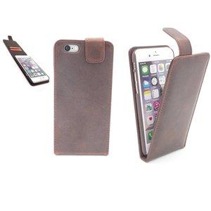 Lederen Hoesje iPhone 6 en 6S Flip Case Bruin Vintage look