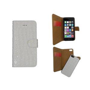 iPhone SE/5S/5 Bookcase Krokodil Uitneembaar wit
