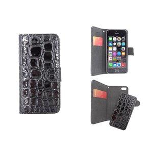 iPhone 5/5S Bookcase Krokodil Leder Uitneembaar Zwart