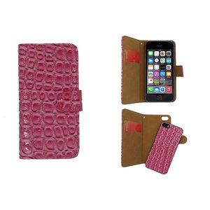 iPhone SE/5S/5 Bookcase Krokodil Uitneembaar Roze