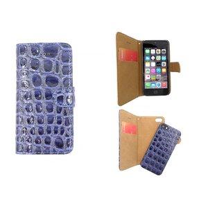 iPhone SE/5S/5 Bookcase Kroko Uitneembaar Blauw