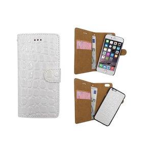 iPhone 6 en 6S Krokodil Leder Uitneembaar 2 in 1 Boek Hoesje Wit