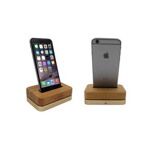 iPhone Hout Docking Station Licht Bamboe Voet Goud