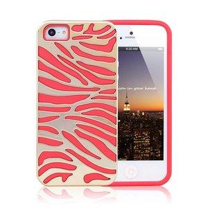 iPhone 5/5S Siliconen Gel TPU hoesje rood gouden zebra print