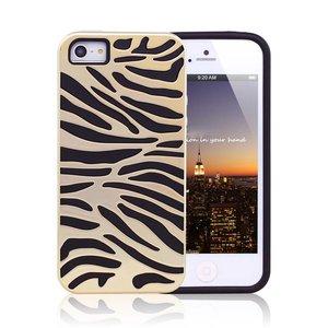 iPhone 5/5S Siliconen Gel TPU hoesje zwart gouden zebra print
