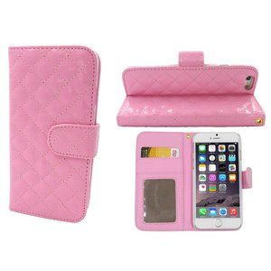 iPhone 6 en 6S Leder Lak Bookcase Hoesje Roze