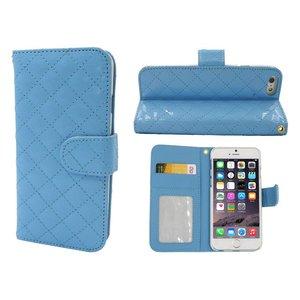iPhone 6 en 6S Leder Lak Bookcase Hoesje Blauw