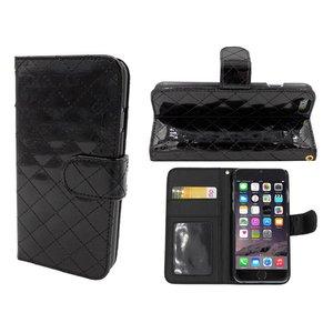 iPhone 6 en 6S Leder Lak Bookcase Hoesje Zwart
