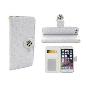 iPhone 6 en 6S Lederen Lak Bookcase Boek Hoesje Diamanten Roos Wit