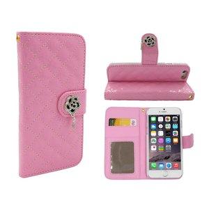 iPhone 6 en 6S Lederen Lak Bookcase Boek Hoesje Diamanten Roos Roze