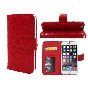 iPhone 6 en 6S Lederen Lak Boek Hoesje Ruitjes Motief Hartjes Rood