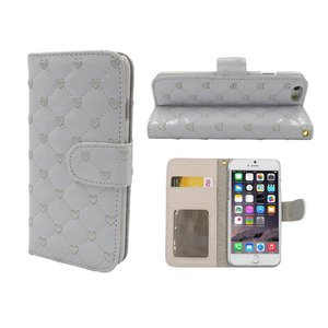 iPhone 6 en 6S Lederen Lak Boek Hoesje Ruitjes Motief Hartjes Wit