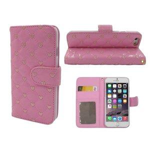 iPhone 6S Bookcase Leder Lak Ruitjes Hartjes Roze