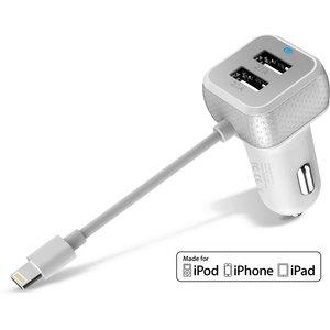 iPhone Autolader iPad USB 6.6A Lightning MFI Wit