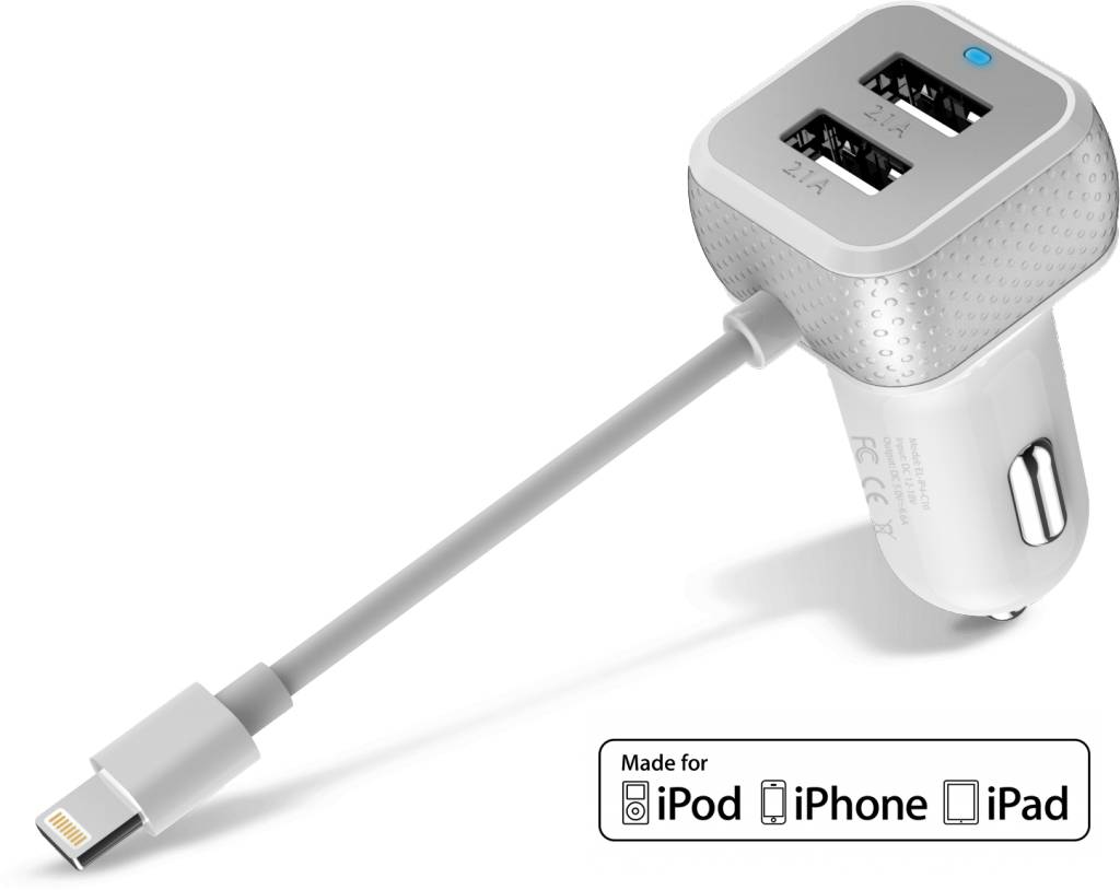 Dagaanbieding: iPhone Autolader iPad USB 6.6A Lightning MFI Wit