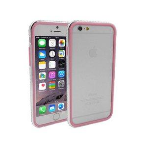 iPhone 6/6S Bumper Dubbel Roze Zilver Diamantjes