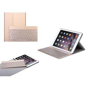 iPad Air 2 en iPad Pro Leder Toetsenbord Hoes Goud